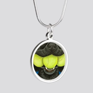 Black Lab with 3 tennis ball Silver Round Necklace