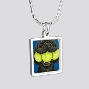 Black Lab with 3 tennis ba Silver Square Necklace