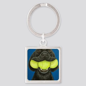 Black Lab with 3 tennis balls Square Keychain