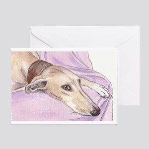 Lurcher on sofa Greeting Card
