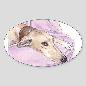 Lurcher on sofa Sticker (Oval)