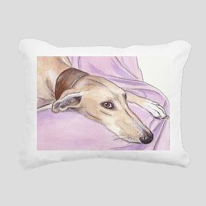 Lurcher on sofa Rectangular Canvas Pillow