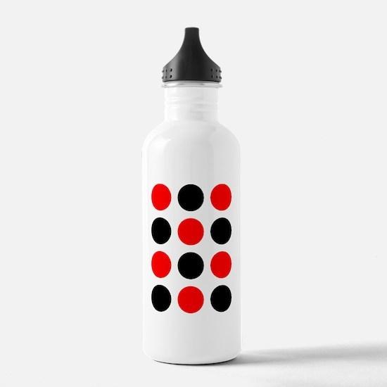 Red  Black Checkers De Water Bottle