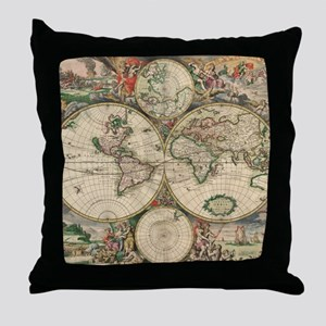 World Map 1671 Throw Pillow