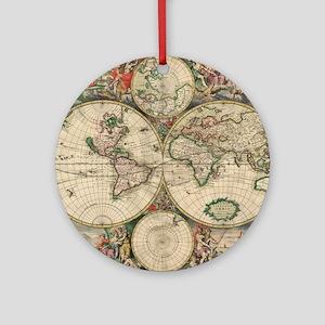 World Map 1671 Round Ornament