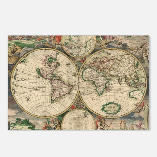 World Map 1671 Postcards (Package of 8)