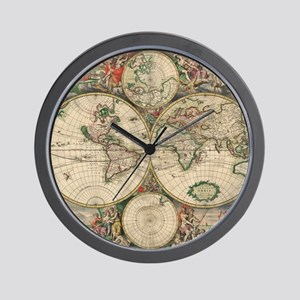 Ancient world map wall clocks cafepress world map 1671 wall clock gumiabroncs Gallery