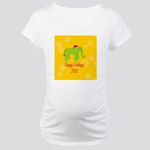 Elephant Happy Holidays! (Round) Maternity T-Shirt