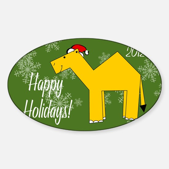 Camel Happy Holidays! Picture Ornam Sticker (Oval)