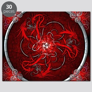 Red Triple Celtic Dragons Tapestry Puzzle