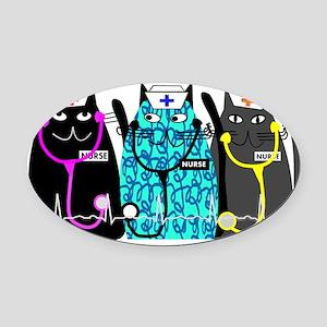 nurse cat NO BACKGROUND Oval Car Magnet