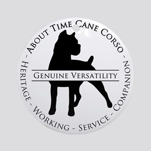 About Time Cane Corso Logo (Black) Round Ornament