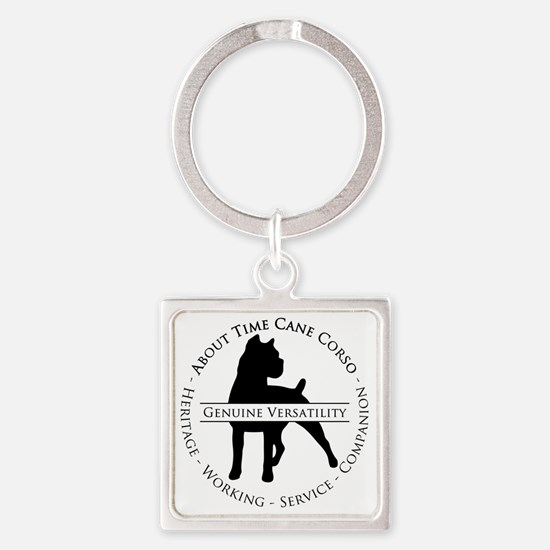 About Time Cane Corso Logo (Black) Square Keychain