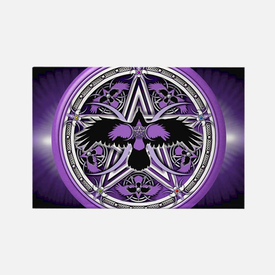 Purple Crow Pentacle Banner Rectangle Magnet