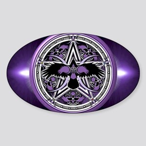 Purple Crow Pentacle Sticker (Oval)