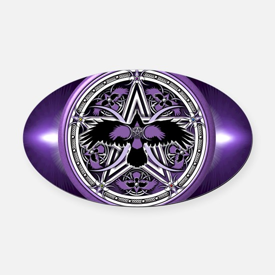 Purple Crow Pentacle Oval Car Magnet