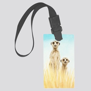 Two Meerkats Panel Print Large Luggage Tag