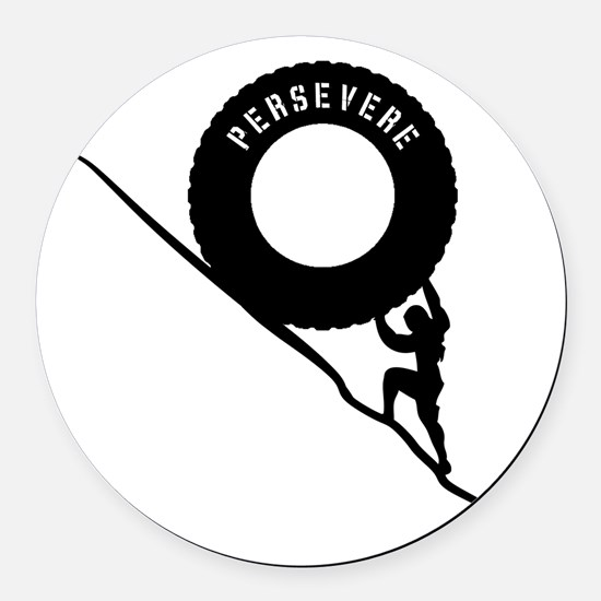 Sisyphus and his perseverence Round Car Magnet
