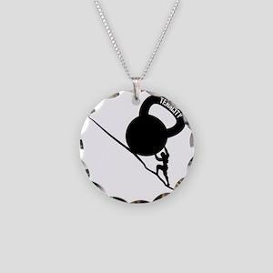 Sisyphus Kettlebell Tenacity Necklace Circle Charm