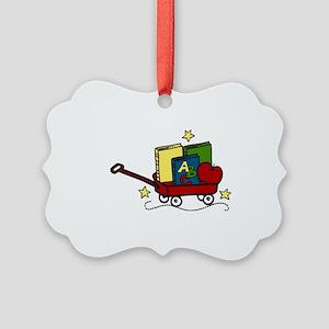 Book Wagon Picture Ornament