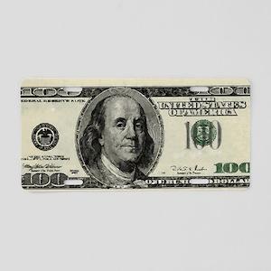 100 Dollar Bill Aluminum License Plate