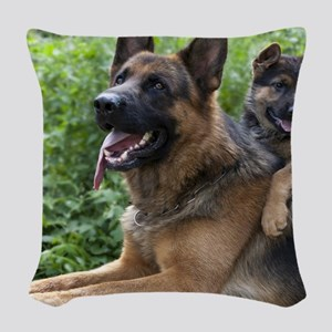 German Shepherd and Puppy Woven Throw Pillow