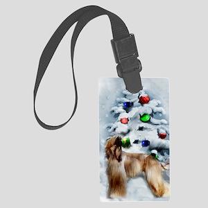 Afghan Hound Christmas Large Luggage Tag