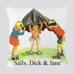 Sally, Dick and Jane Woven Throw Pillow