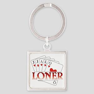 Euchre Loner Square Keychain