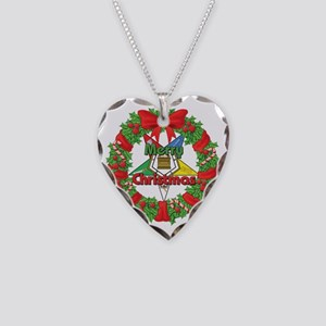 OES Christmas Wreath Necklace Heart Charm