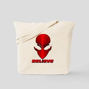 Red Metal Believe Alien Tote Bag