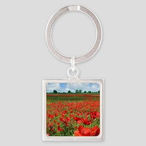 Poppy Fields Square Keychain