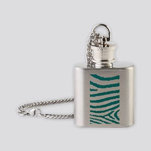 Aqua Green And White Zebra Print Flask Necklace