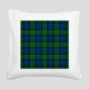 Black Watch Tartan Plaid Square Canvas Pillow