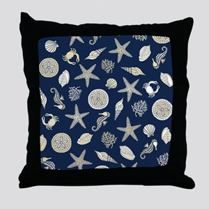 Beachcomber Navy Throw Pillow