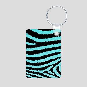 Aqua Blue And Black Zebra Aluminum Photo Keychain 302baba1c