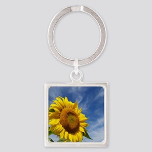 Sunflower Reaching for the Sky Square Keychain