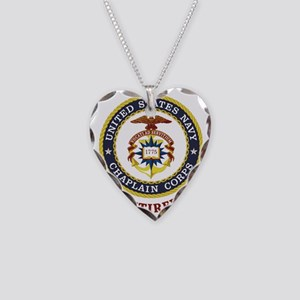 Retired US Navy Chaplain Necklace Heart Charm
