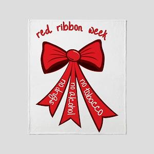 Red Ribbon Week Throw Blanket