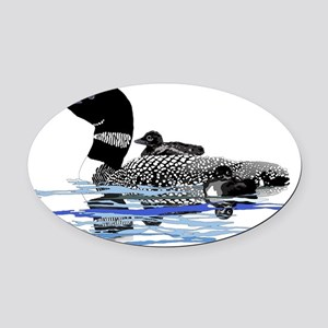 loon with babies Oval Car Magnet