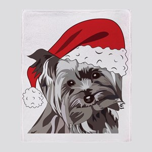 Cute Yorkie Christmas Puppy Throw Blanket
