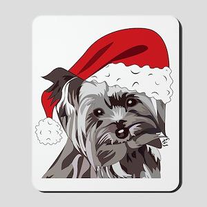Cute Yorkie Christmas Puppy Mousepad