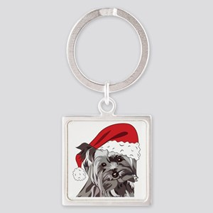Cute Yorkie Christmas Puppy Square Keychain