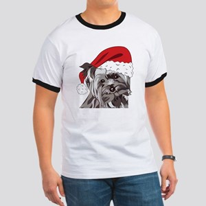Cute Yorkie Christmas Puppy Ringer T