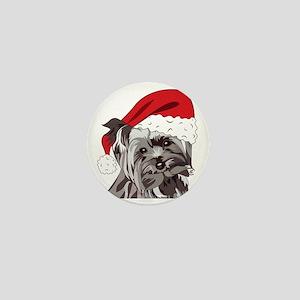 Cute Yorkie Christmas Puppy Mini Button