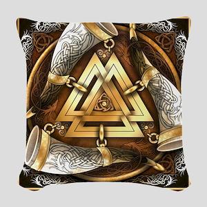 Norse Drinking Horn Valknut Woven Throw Pillow