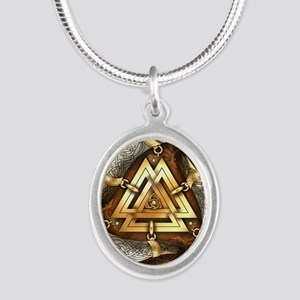 Norse Drinking Horn Valknut Silver Oval Necklace