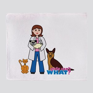 Woman Veterinarian Throw Blanket