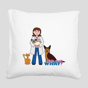 Woman Veterinarian Square Canvas Pillow