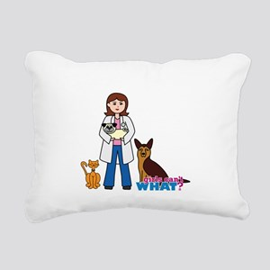 Woman Veterinarian Rectangular Canvas Pillow